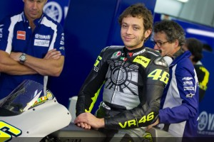 Motorcycle racer Valentino Rossi on a Yamaha race bike.