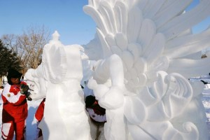 Snow sculpture by Indonesian contestants at the 2013 18th Annual Harbin Snow Sculpture Competition.
