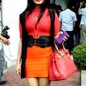 Iis Dahlia using Red Hermes Bag