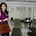 Fitria Yusuf carries a Hermes bag during an interview at her house in Jakarta