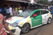 Google Car Hits Trucks in Indonesia