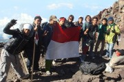 Indonesia Flag on Fuji Japan